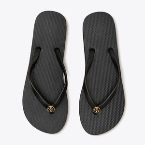 Tory Burch Thin Black and Gold Flip Flop Sandals